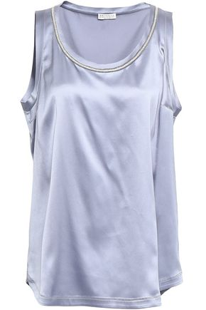 BRUNELLO CUCINELLI Bead-embellished stretch-silk satin tank
