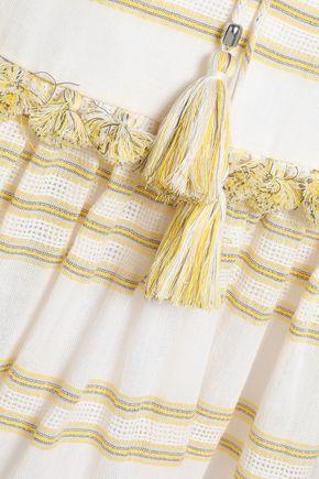 ZIMMERMANN Tasseled striped cotton-blend blouse