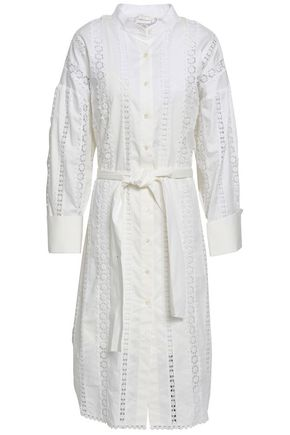 ZIMMERMANN Tie-front crochet-trimmed cotton-poplin shirt dress
