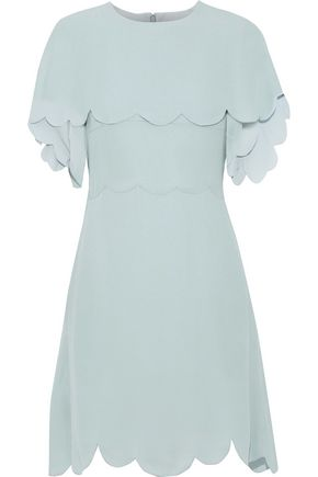VALENTINO Layered scalloped silk crepe de chine mini dress