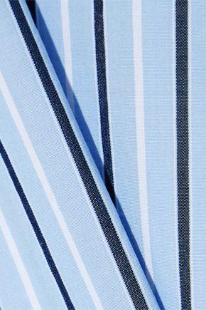 FRAME Ruffle-trimmed striped cotton-poplin blouse