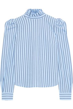 FRAME Ruffle-trimmed striped cotton-poplin blouse
