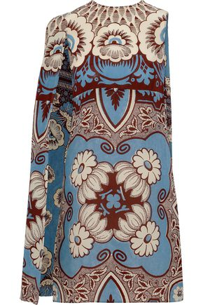 VALENTINO Printed cape-effect silk mini dress