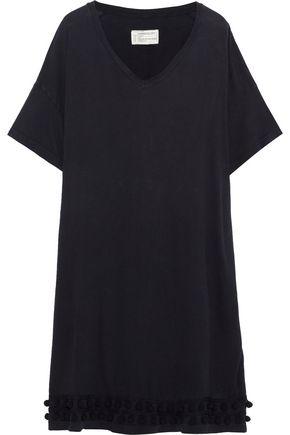 CURRENT/ELLIOTT Pompom-embellished distressed cotton-jersey dress