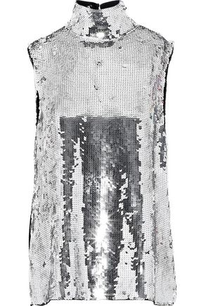 TIBI Metallic sequined silk turtleneck top
