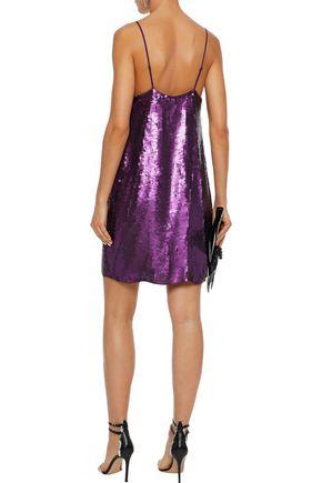 TIBI Sequined silk crepe de chine mini slip dress