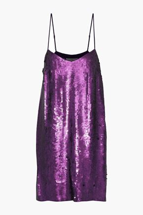 TIBI Sequined silk crepe de chine mini slip dress