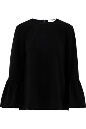 TIBI Fluted crepe de chine blouse