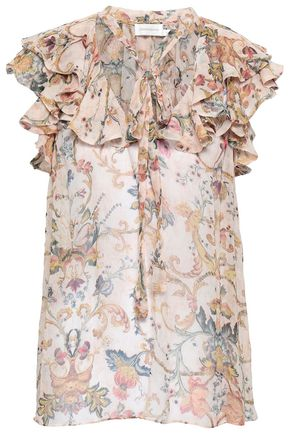 28c2bc5fd785 ZIMMERMANN Ruffled floral-print silk-georgette top