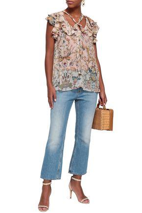 ZIMMERMANN Ruffled floral-print silk-georgette top