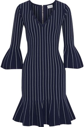 MILLY Fluted pinstriped stretch-knit mini dress