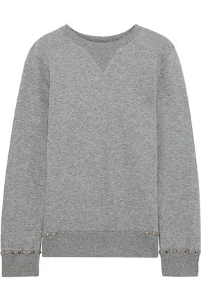 VALENTINO Stud-embellished French cotton-blend terry sweatshirt