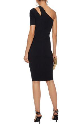 MILLY One-shoulder cutout stretch-knit dress