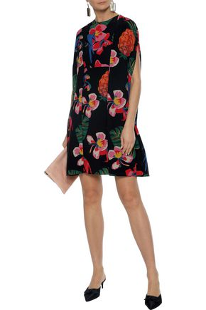 VALENTINO Printed cape-effect silk mini dress