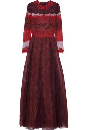 VALENTINO Paneled lace and tulle maxi dress