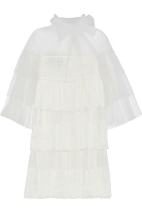 VALENTINO Tiered tulle, point d'esprit and lace mini dress