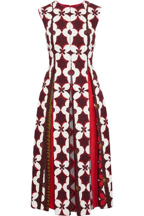VALENTINO Printed cotton and flax-blend midi dress