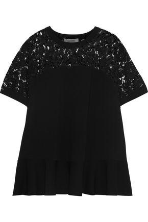 VALENTINO Lace-paneled stretch-knit top
