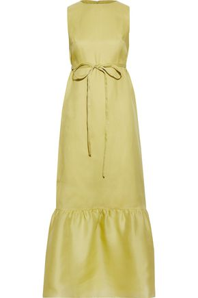VALENTINO Belted silk-organza maxi dress
