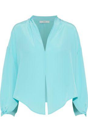 TOME Pleated silk crepe de chine blouse