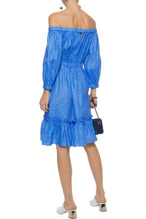 MILLY Amanda off-the-shoulder linen dress