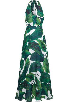 MILLY Charlie printed silk crepe de chine halterneck maxi dress