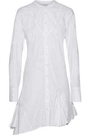 TOME Asymmetric pleated cotton-poplin mini shirt dress