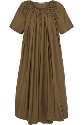 JIL SANDER Gathered cotton-poplin midi dress