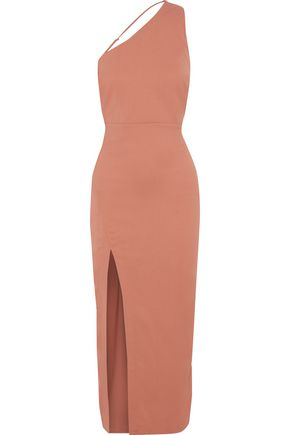 MICHELLE MASON One-shoulder split-front stretch-crepe midi dress