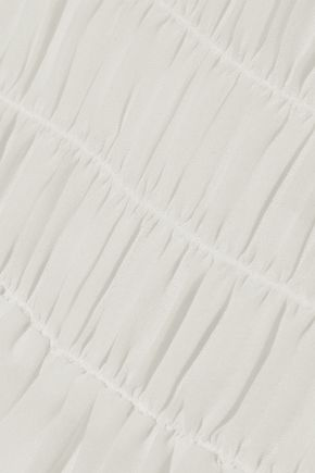 FRAME Tie-back shirred chiffon blouse