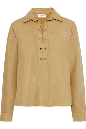 FRAME Lace-up suede shirt