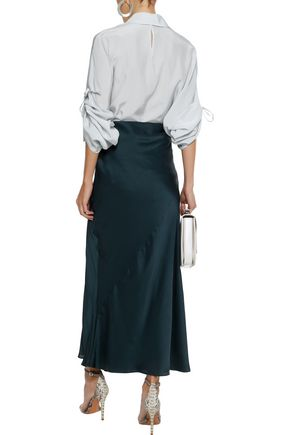 JIL SANDER Ruched silk crepe de chine shirt