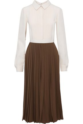 VALENTINO Pintucked pleated crepe shirt dress