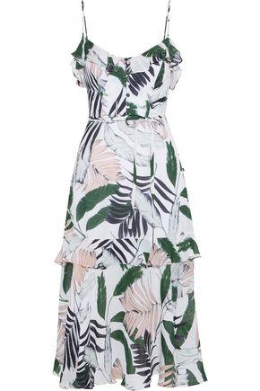 MILLY Petal ruffle-trimmed printed silk crepe de chine midi dress