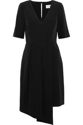 MILLY Dina asymmetric pleated stretch-cady dress