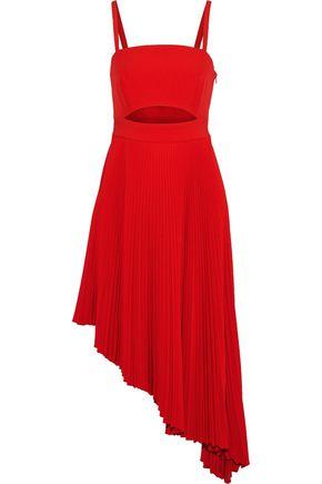 MILLY Eliza asymmetric cutout stretch-crepe midi dress