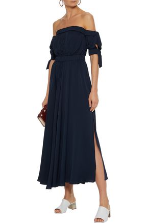 MILLY Off-the-shoulder tie-detailed silk-blend midi dress