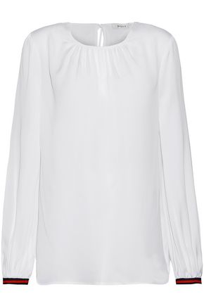 MILLY Mandy gathered stretch-silk blouse