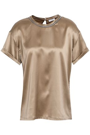 BRUNELLO CUCINELLI Bead-embellished stretch-silk satin blouse