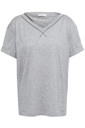 BRUNELLO CUCINELLI Bead-embellished cotton-jersey T-shirt