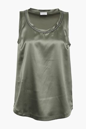 BRUNELLO CUCINELLI Bead-embellished silk-blend satin top