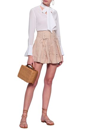 ZIMMERMANN Painted Heart lace-up linen shorts