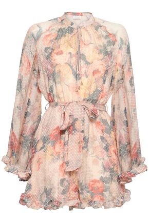 ZIMMERMANN Pussy-bow floral-print fil coupé silk playsuit