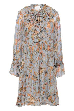 ZIMMERMANN Painted Heart ruffled floral-print silk-georgette mini dress