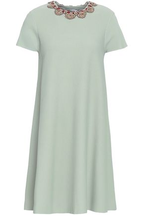 VALENTINO Embellished stretch-ponte mini dress