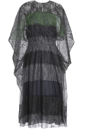 VALENTINO Cape-effect paneled silk-lace dress