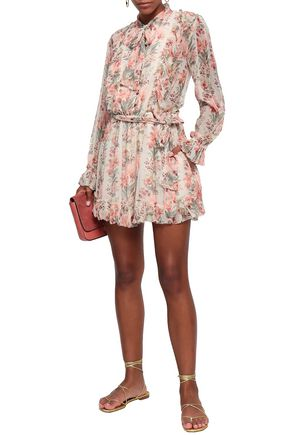 ZIMMERMANN Pussy-bow floral-print silk-georgette playsuit