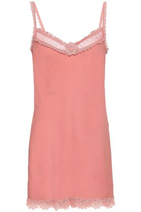 REDValentino Lace-trimmed silk-crepe mini slip dress