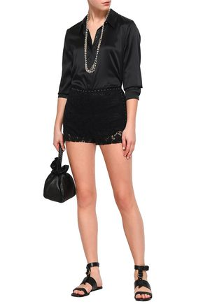 VALENTINO Studded cotton-blend corded lace shorts