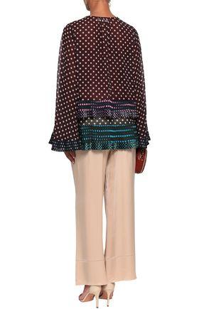 ZIMMERMANN Satin-trimmed polka-dot crepe blouse